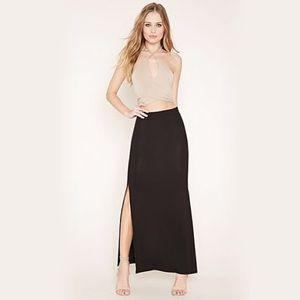 Side Slit Black Maxi Skirt